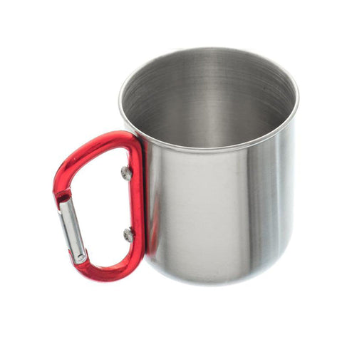 "Stainless Steel Travel Mug with Red 3"" Carabiner Handle (300ml)"