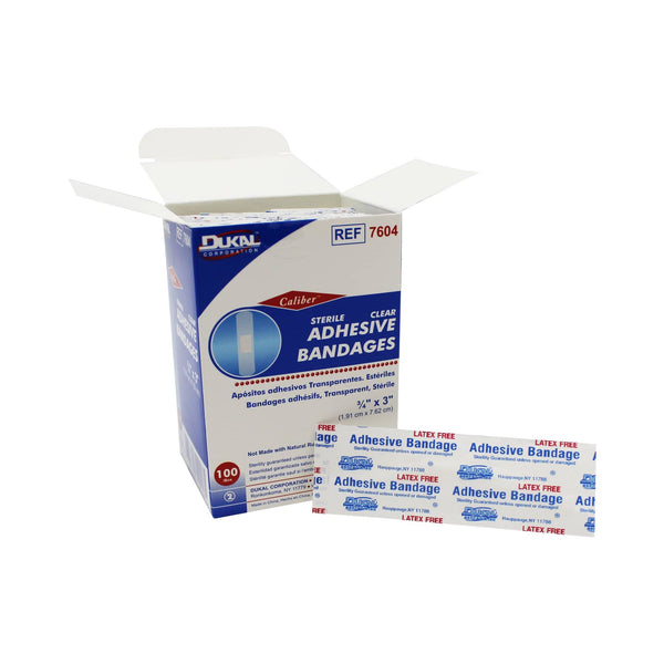 "Clear Adhesive Bandages, Sterile, 3/4"" x 3"" (1.9 cm x 7.62 cm) - Durkal (100/box)"