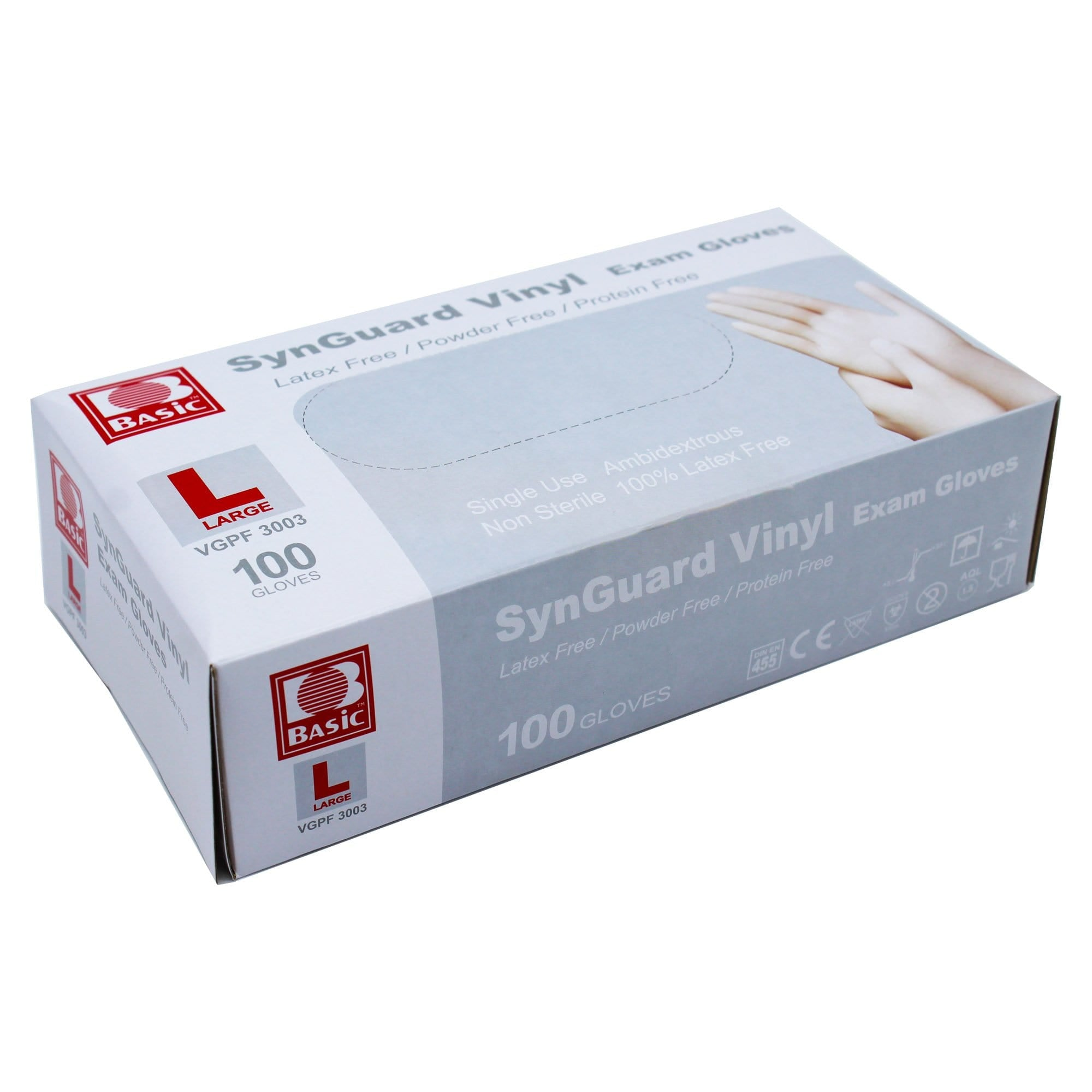 Vinyl Gloves, Box of 100 Pieces, Large - SynGuard