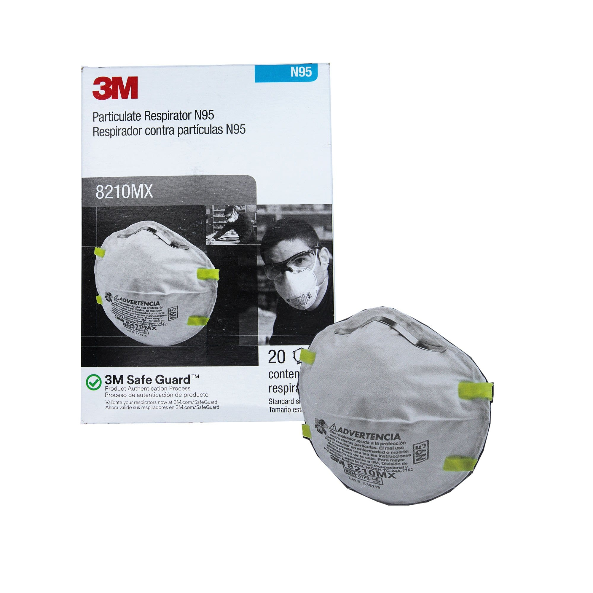 3M 8210MX N95 Particulate Respirator Mask Pack of 20