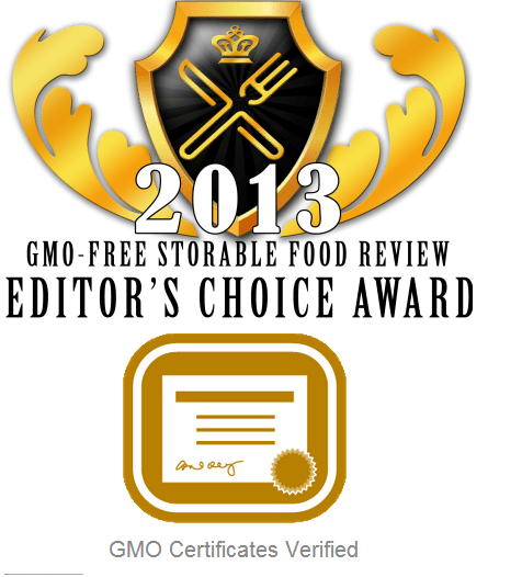 2013 GMO-Free storable food review editor's choice award