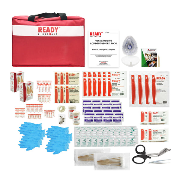 Techincal Safety BC Level 1 WorkSafeBC First Aid Kit - Ready First Aid™ + 3 Cotton Blanket and Duffle Bag