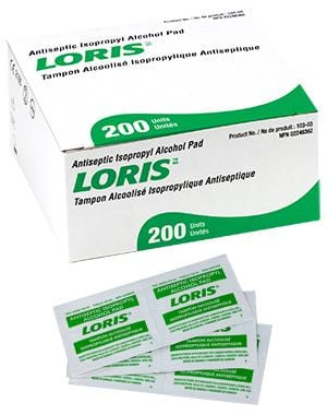 "Antiseptic Isopropyl ""LORIS"" Alcohol Pads (200/box)"