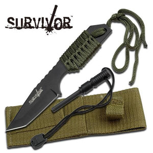 7 Inch Hunting Knife with Fire Starter Survival Pocket Sheath