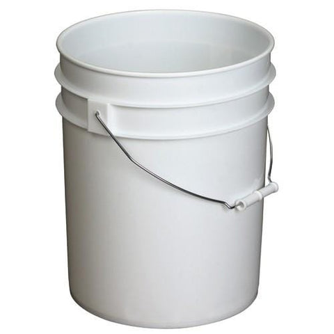 6 Gallons Food Grade Plastic White Buckets w/handle