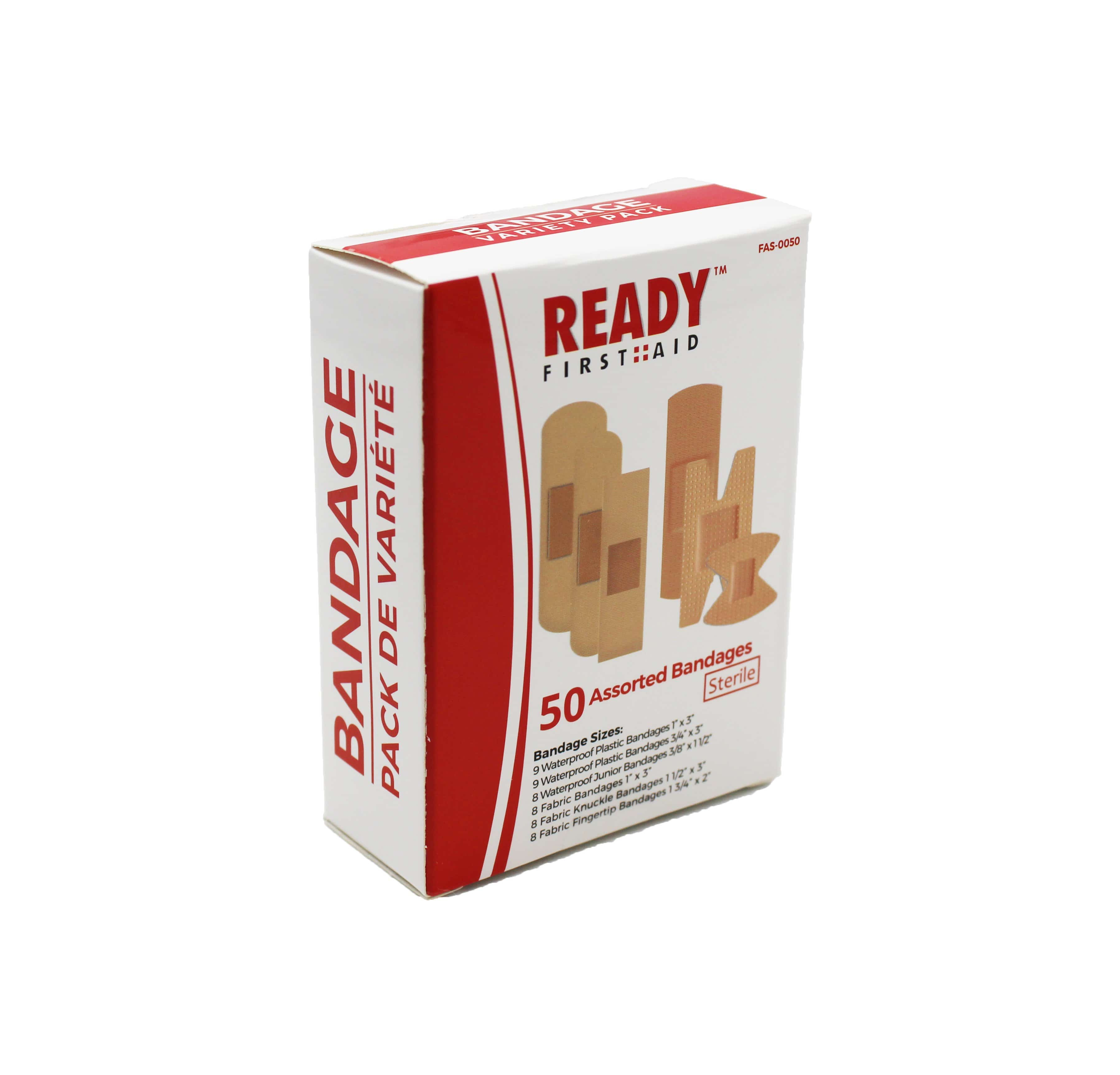 Ready First Aid 50 Assorted Adhesive Bandages 72hours Ca