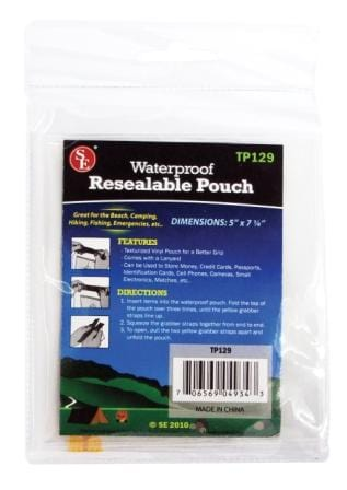 Waterproof Resealable Storage Pouch (5-Inch X 7 1/4-Inch) PVC Material packaging