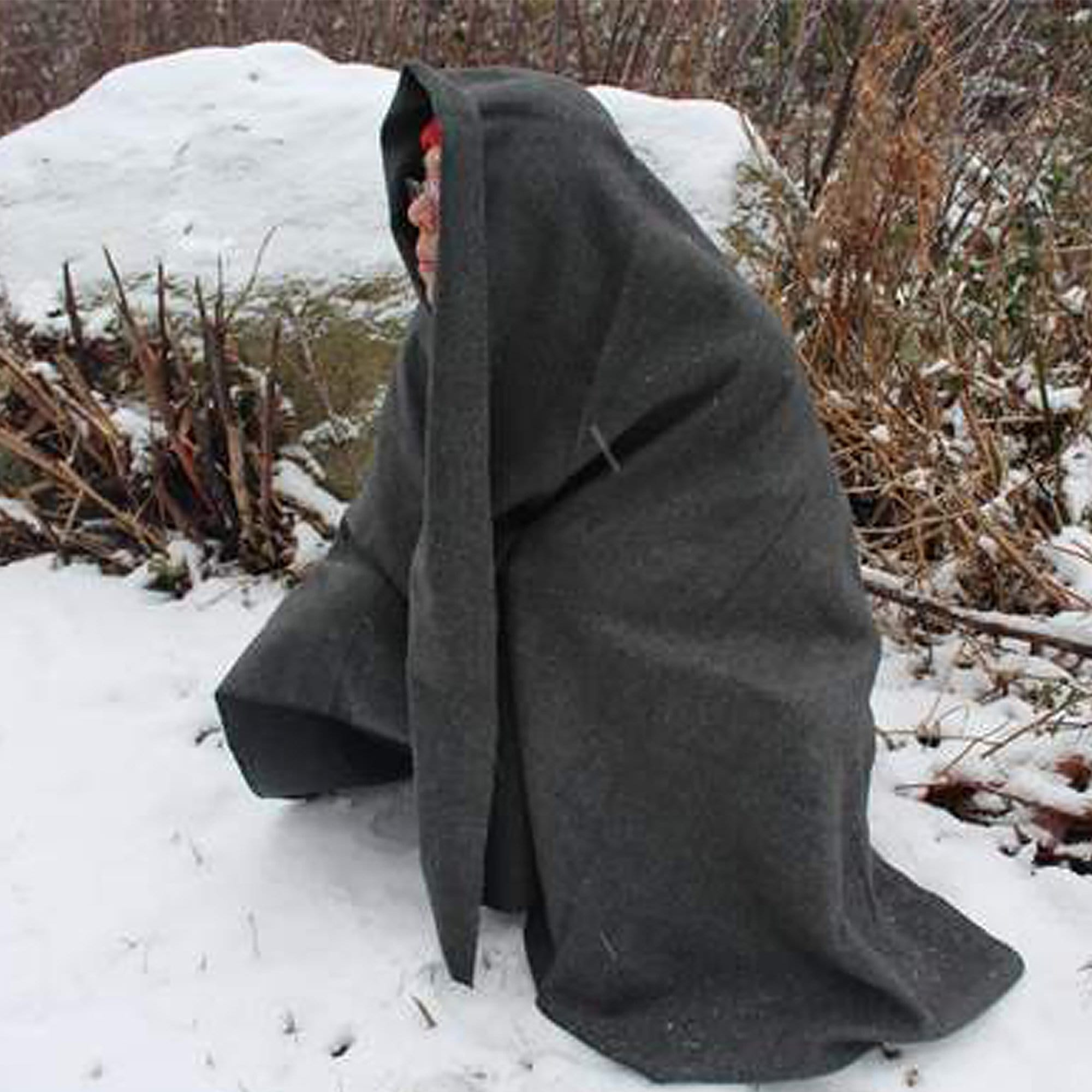 man wrapped in Wool Blanket (Gray Colour) (80% Wool)