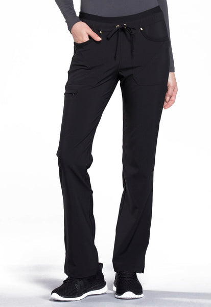Photo of Cherokee iflex CK010 Mid Rise Tapered Leg Drawstring Pants Black