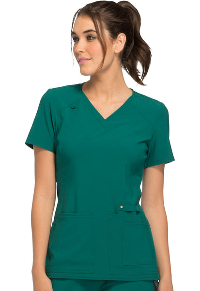 Photo of Cherokee Iflex CK605 V-Neck Knit Panel Top Hunter Green