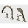 Bathtub faucet with hand shower.  Brushed nickel finish
