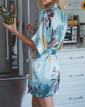 "Load image into Gallery viewer, Birds of Paradise Silk Kimono ""Paradise"" Robe"