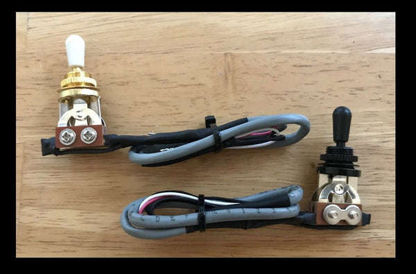 Gold or Black Gibson style 3 way guitar switch with 4 conductor wire.
