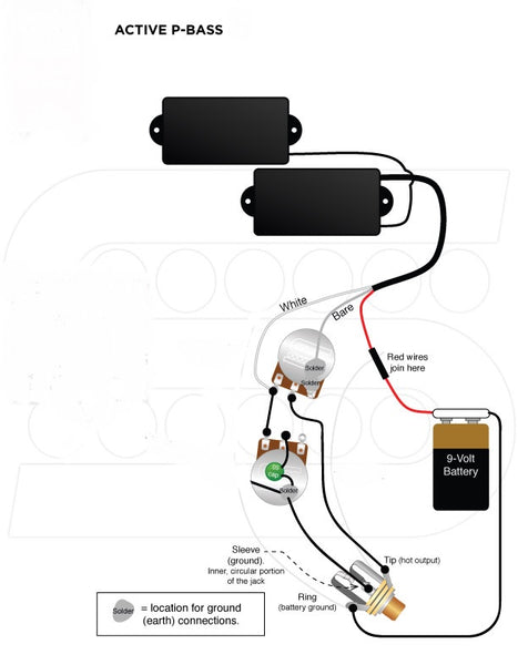 Wiring Harness for Fender P-Bass: Active Pickups (EMG) – Starr Guitar  SystemsStarr Guitar Systems