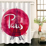 Abstract Paris Eiffel Tower Shower Curtain - Red
