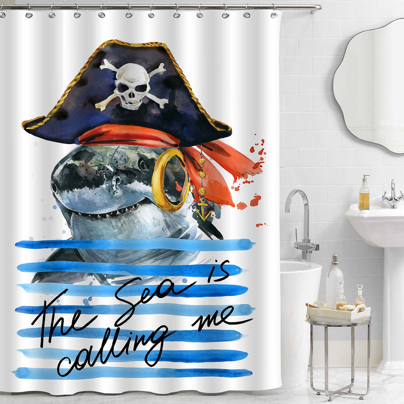 Cute Pirate Shark on Ocean Waves Shower Curtain - Blue