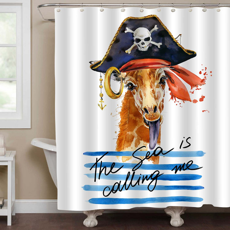 Watercolor Pirate Giraffe Shower Curtain - Blue Brown