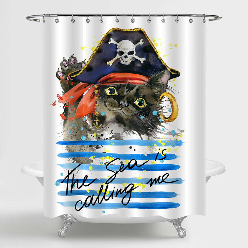 Naughty Pirate Black Persian Cat Waving Arm in Skull Hat Shower Curtain - Blue Black