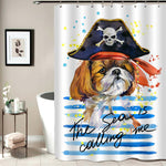 Watercolor Pirate Cavalier King Charles Spaniel Dog Shower Curtain - Blue Brown
