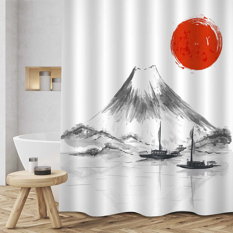 Two Fishing Boats Floating on Fuji Five Lakes Shower Curtain - Black White Red