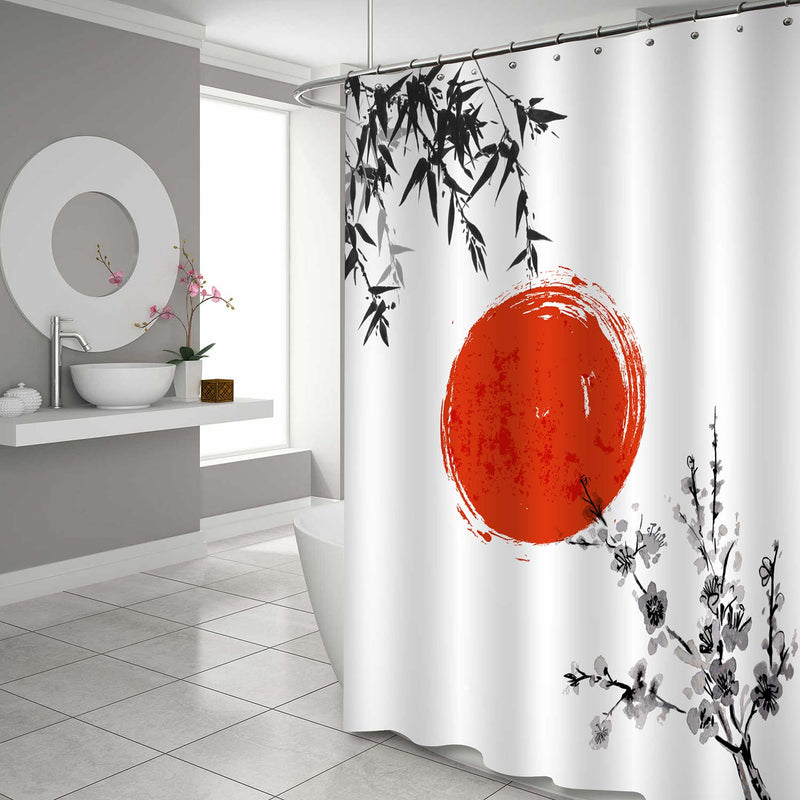 Japanese Watercolor Bamboo Leaves Sun and Sakura Blossom Shower Curtain - Black White Red