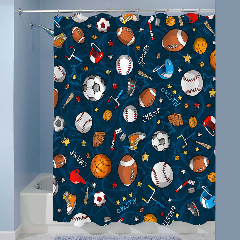 Baseball Basketball Football Hockey Star Pattern Sports Themed Shower Curtain - Dark Blue