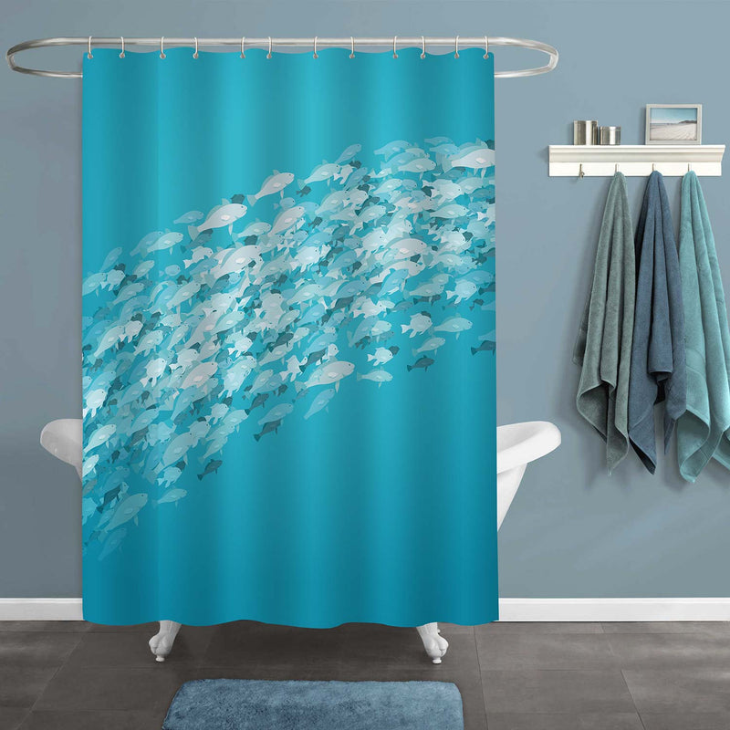 School of Fishes in Deep Sea Shower Curtain - Aqua