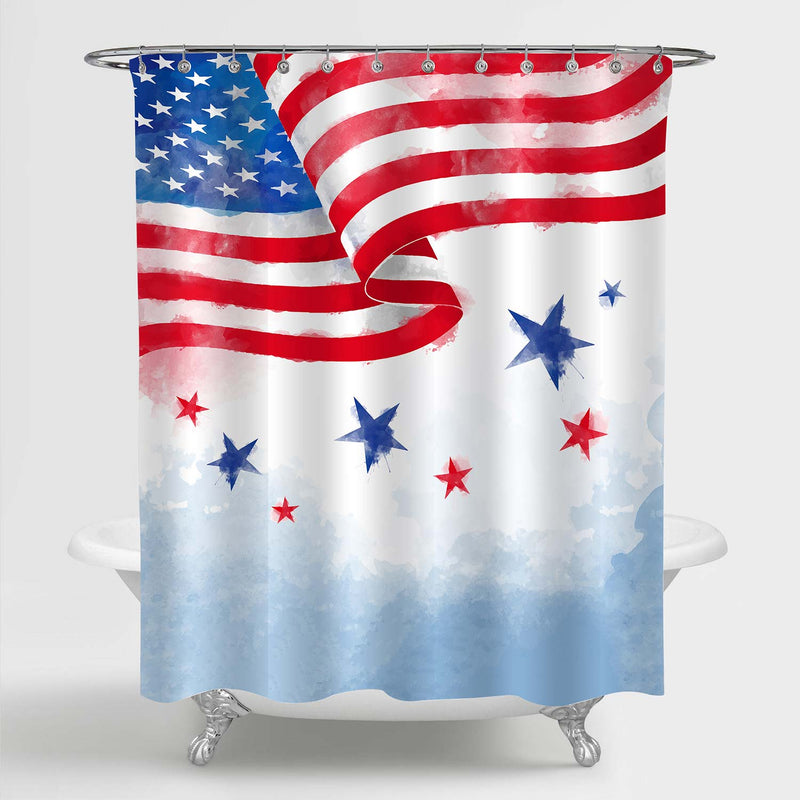 Watercolor USA Flag Patriotic Shower Curtain - Red Blue