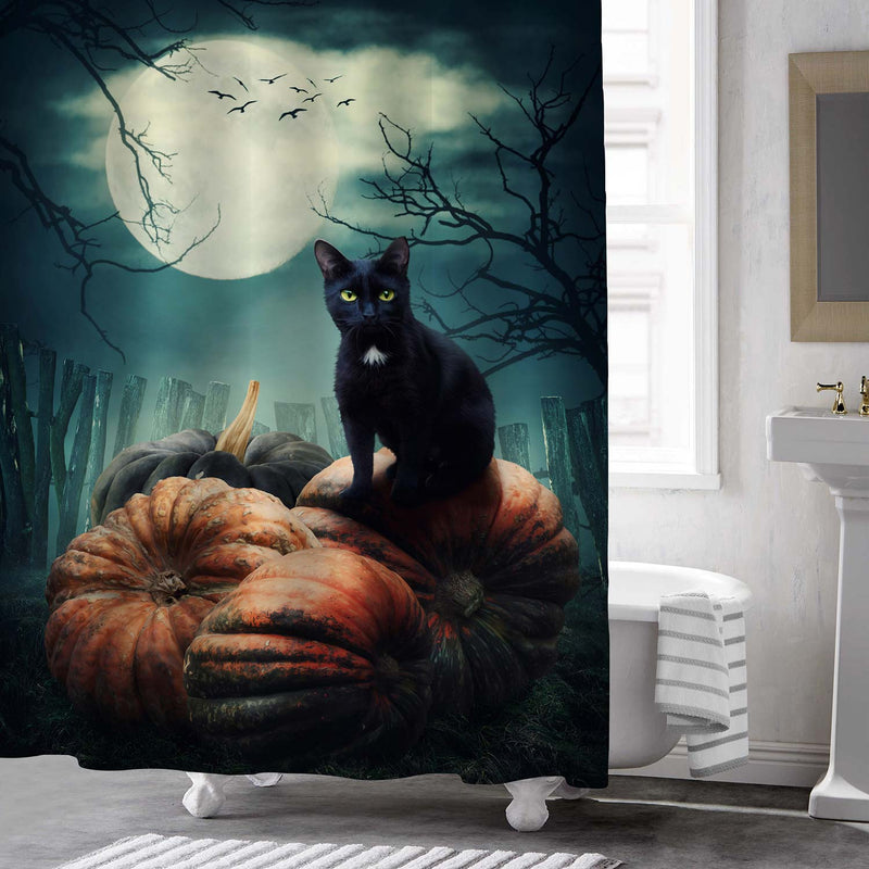 Cat on Pumpkins at Night with Full Moon Horror Halloween Shower Curtain - Black Green
