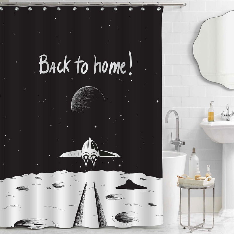 Spaceship Back to Earth Shower Curtain - Black White