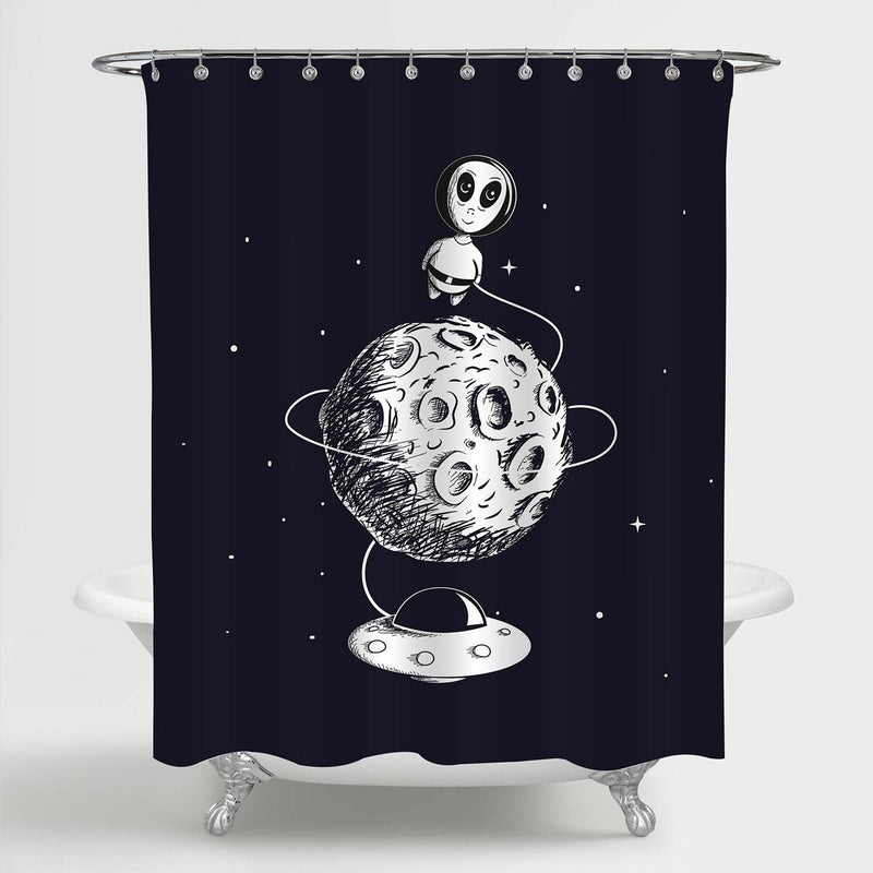 Hand Drawn Cute Alien Flying Around The Moon with UFO Shower Curtain - Black White