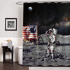 NASA Astronaut on Lunar Landing Mission Shower Curtain - Dark Blue Grey
