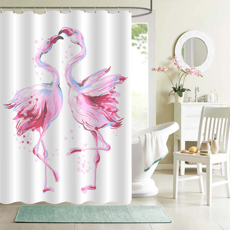 Hand Drawn Couple Flamingos Dancing in Honeymoon Shower Curtain - Pink