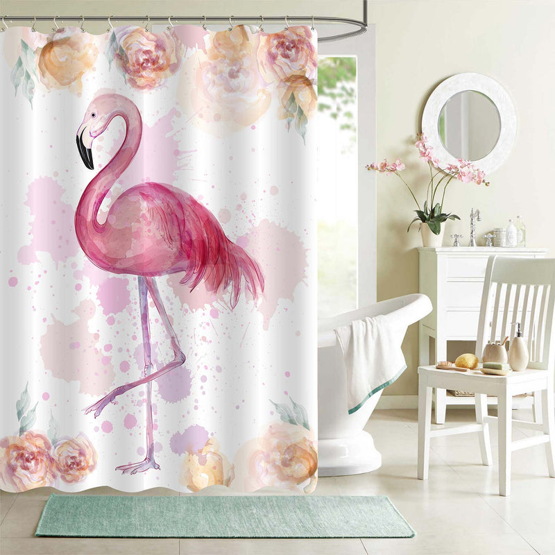 Watercolor Hand Drawn Flamingo with Florals Shower Curtain