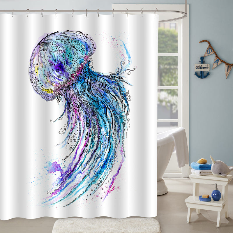 Watercolor Hand Painting Deep Sea Jellyfish Shower Curtain -  Blue