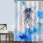 Watercolor Auaatic Life Jellyfish Shower Curtain - Blue