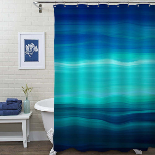 Blue Ombre Ocean Wave Striped Shower Curtain - Navy Blue Turquoise