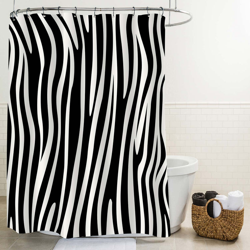 Animal Skin Zebra Stripe Shower Curtain - Black White