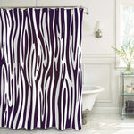 Trendy Zebra Print Graphic Stripe Shower Curtain- Black White