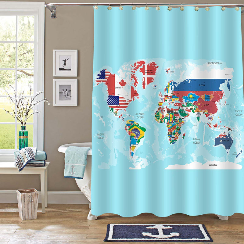 Geographic World Map with Flags Shower Curtain - Blue Green