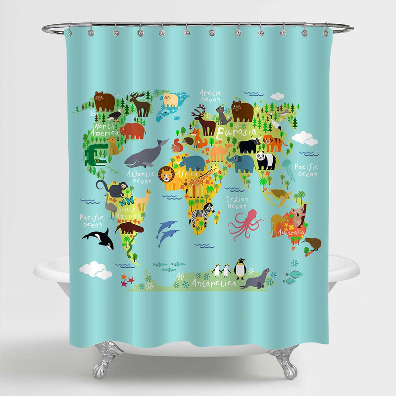 Cartoon Animal World Map Shower Curtain - Green