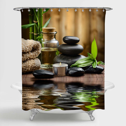 Zen Basalt Stones and Spa Oil on the Wood Near a Pond Shower Curtain - Brown