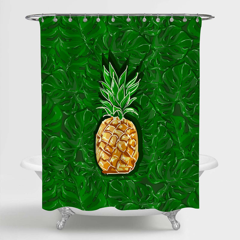 Pineapple and Botanical Leaves Shower Curtain - Gold Green