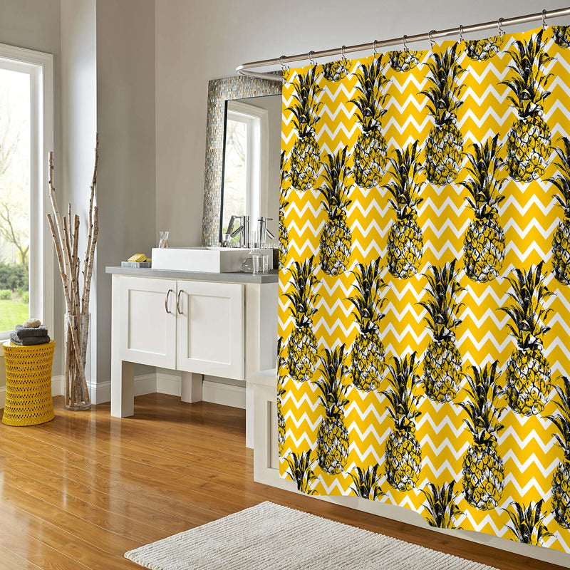 Sketch Pineapple with Zig Zag Pattern Shower Curtain - Gold Black