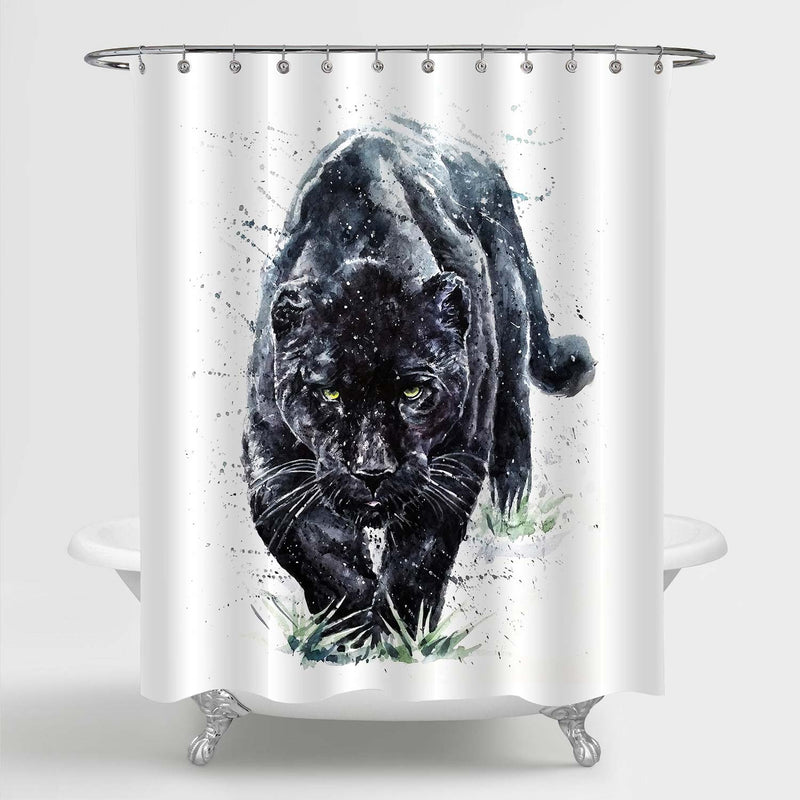 Watercolor Paint Predator Black Panther Shower Curtain - Black