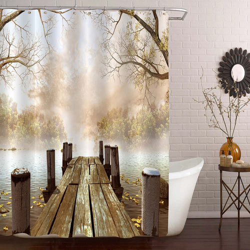 Wooden Dock with Leaves and Tree Branches Shower Curtain - Brown