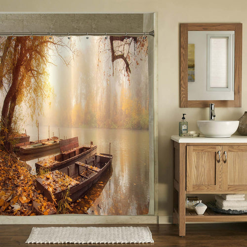 Wooden Boats on the River with Misty Background Shower Curtain - Brown