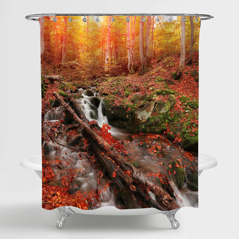 Fast Waterfall Stream Flowing Between Green Stones and Red Leaves Shower Curtain - Red Gold