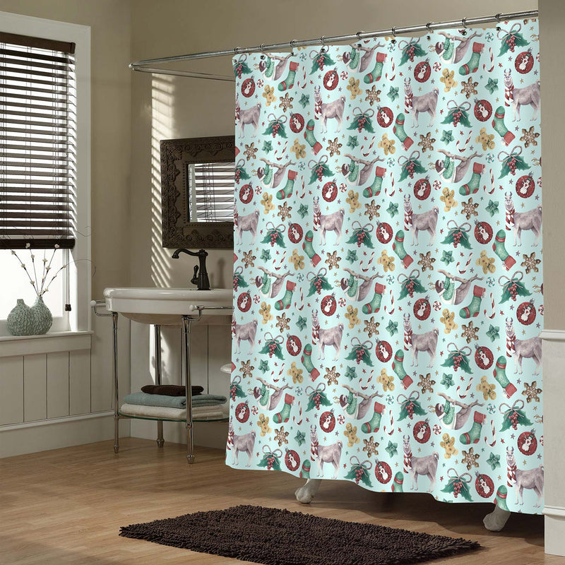 Christmas Llama and Sloth Shower Curtain - Green