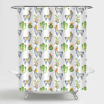 Watercolor Cactus and Llama Shower Curtain - Green